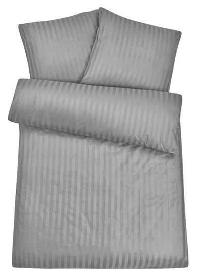 Bettwäsche »Edle Damast Qualität, Bezug aus 100% Baumwolle, mit eleganten Streifen, Set 2tlg«, Carpe Sonno, Gestreifte Damast Bettwäsche 200x200 cm in exklusiver Hotelqualität, Premium Bett-Wäsche besonders angenehm auf der Haut, Bettbezug mit edlem Streifen-Muster, leichter Glanz, pflegeleichte Ganzjahresbettwäsche