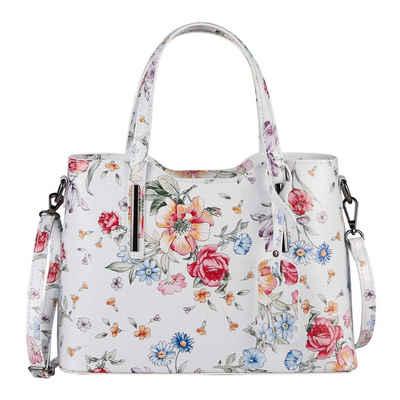 ITALYSHOP24 Schultertasche »Made in Italy Damen Leder Handtasche«, als CrossOver, Umhängetasche, Shopper tragbar
