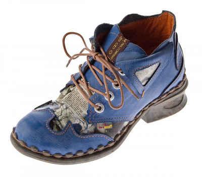 TMA »Leder Stiefeletten Knöchel Schuhe TMA 5155 Boots« Stiefelette Used Look, Zeitungsdruck, Ungefüttert, Ganzjahresartikel