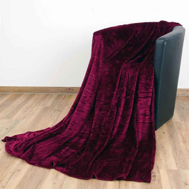 """Wohndecke, Bestlivings, Kuscheldecke """"Celina"""" - Aubergine - 60x80 cm (BxL) - hochwertige Flauschige Kuschel Decke in vielen Farben und Größen"""
