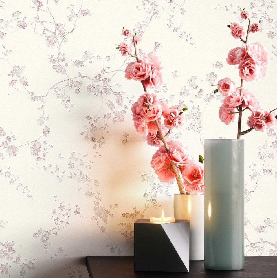 Newroom Vliestapete, Blumentapete Creme Wallpaper Floral Blumen Tapete  Pflanzen Blätter Wohnzimmer Schlafzimmer Büro Flur online kaufen  OTTO