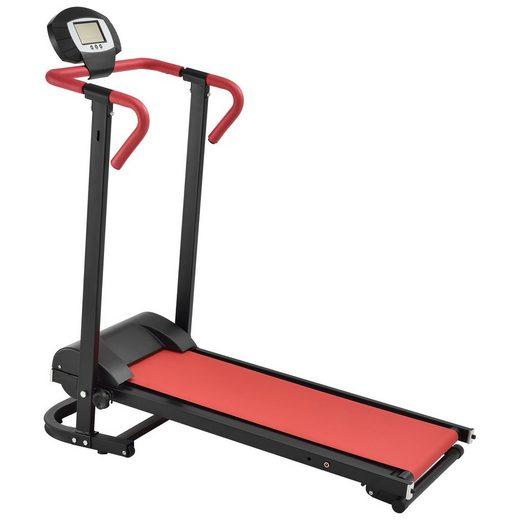 in.tec Laufband, Heimtrainer mechanisch mit LCD-Display rot