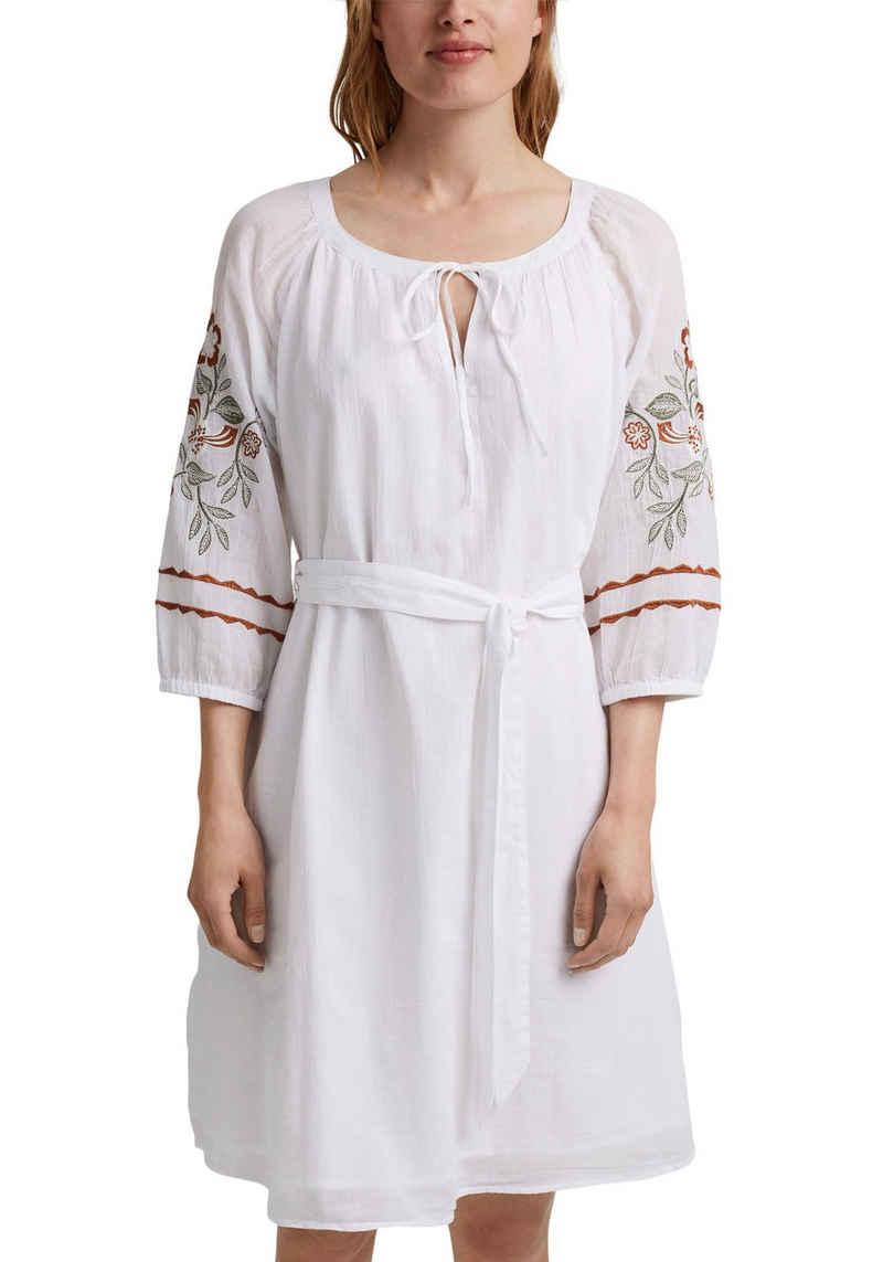Esprit Blusenkleid (2-tlg., mit Bindegürtel) mit hochwertiger Stickerei im Folklore Stil