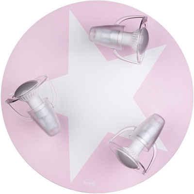 Waldi-Leuchten Deckenleuchten »Deckenleuchte grau mit Stern weiß, 3-flg.«