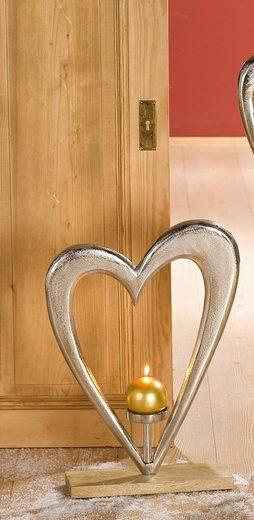 GILDE Dekoobjekt »Kerzenleuchter Großes Herz« (1 Stück), Höhe 52 cm, mit Kerzenhalter, aus Metall, Sockel aus Holz, Wohnzimmer