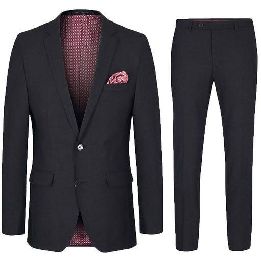 Paul Malone Anzug »Herrenanzug modern slim fit Anzug für Männer - stretch« (2-tlg) schwarz HA13, Gr. 24
