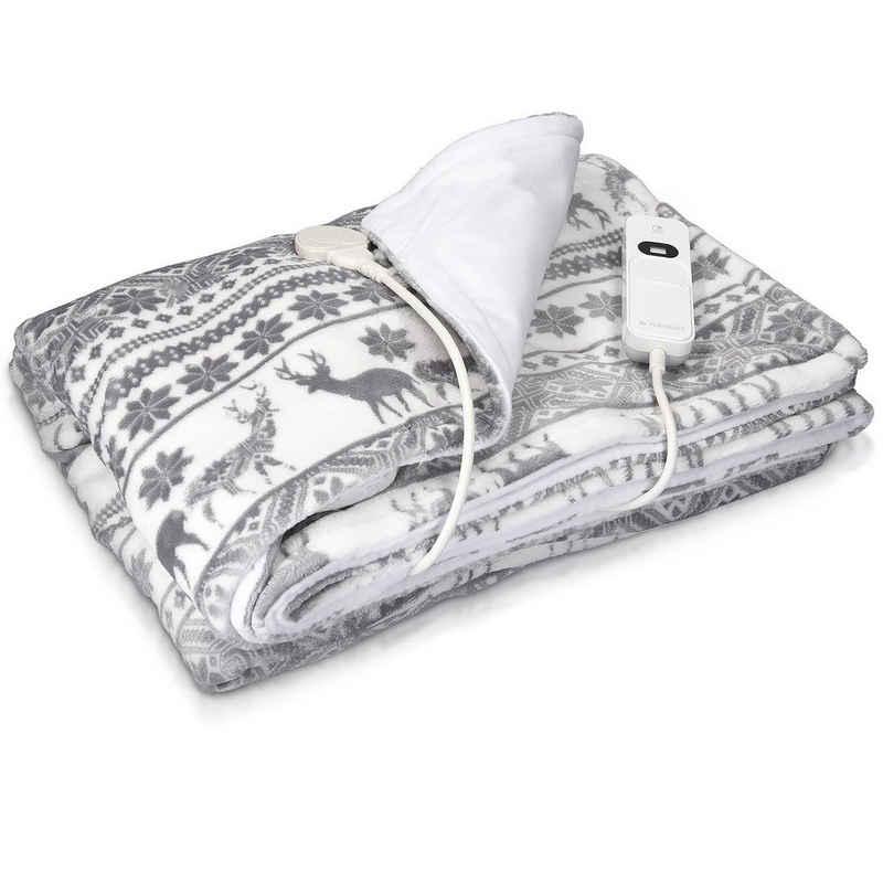 Navaris Heizdecke, XXL Elektrische Wärme Decke - 180x130cm 3 Wärmestufen Abschaltautomatik waschmaschinengeeignet - Kuschelige Bett Wärmedecke