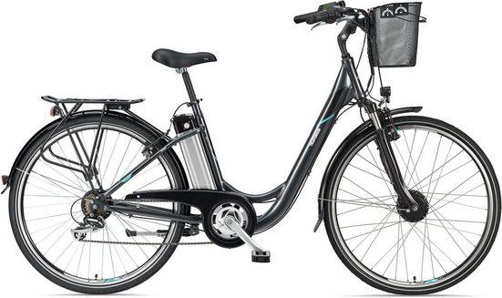 Telefunken E-Bike »Multitalent RC820«, 7 Gang Shimano TY 500 Schaltwerk, Frontmotor 250 W, mit Fahrradkorb