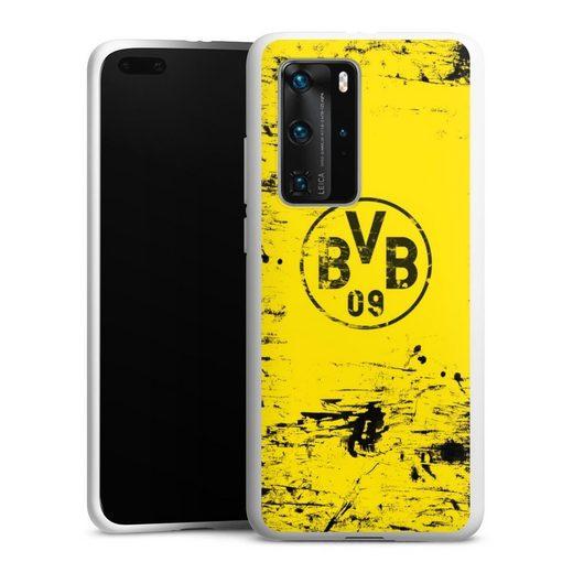 DeinDesign Handyhülle »BVB Destroyed Look« Huawei P40 Pro, Hülle Borussia Dortmund Offizielles Lizenzprodukt BVB