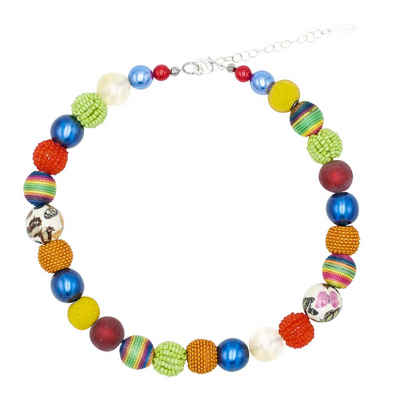 Stephisimo Perlenkette »Multicolor« (inkl. Organza-Beutel), 45 cm lang, Made in Germany, mit Glas- und Keramikperlen
