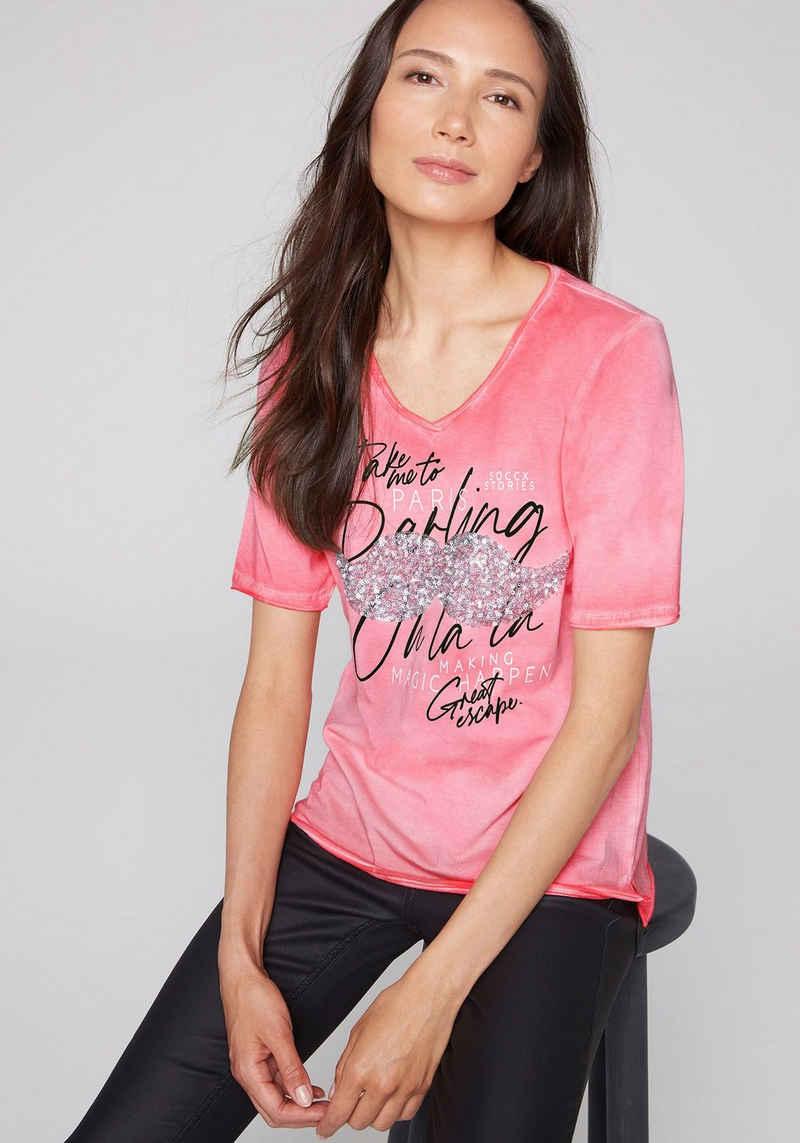 SOCCX T-Shirt mit glitzerndem Druck auf der Brust