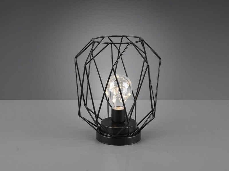 meineWunschleuchte LED Tischleuchte, Industrie-Design Gitter-Leuchte Draht-Gestell mit Batterie für Fensterbank