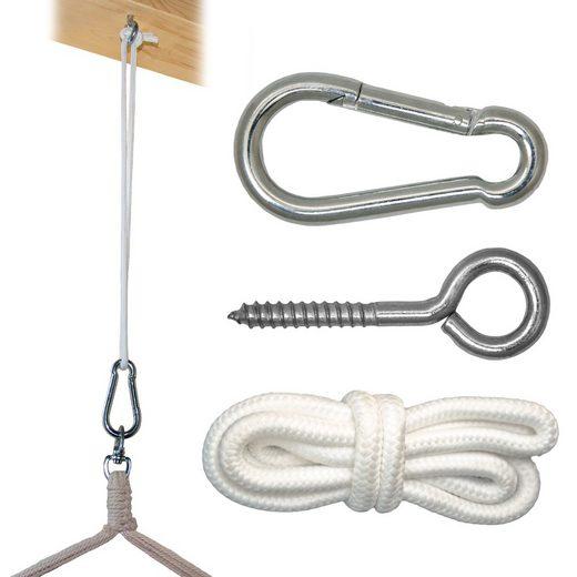 AMANKA Deckenhalter »Befestigung für Hängesessel Karabiner mit Seil«, (1-St), Aufhänge Set max bis ca.160kg