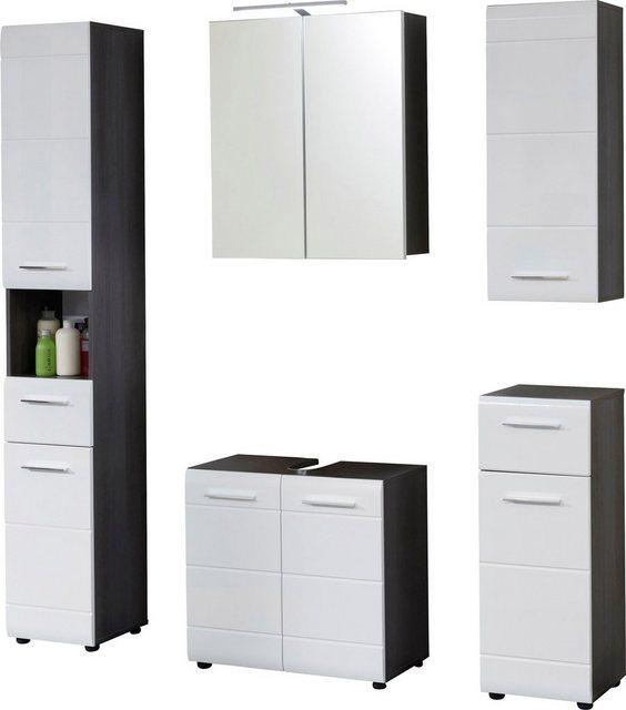 Badezimmer Sets - trendteam Badmöbel Set »Skin«, (Set, 5 St), Spiegelschrank mit LED Beleuchtung, Schränke mit Fronten in Hochglanz oder Holzoptik  - Onlineshop OTTO