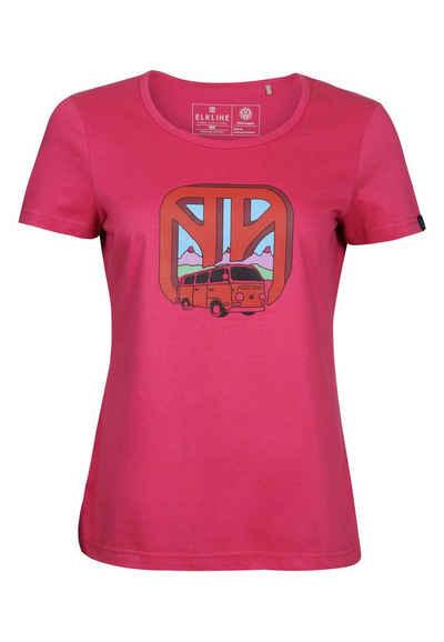 Elkline T-Shirt »Worldwide« Retro VW Bulli Brust Print