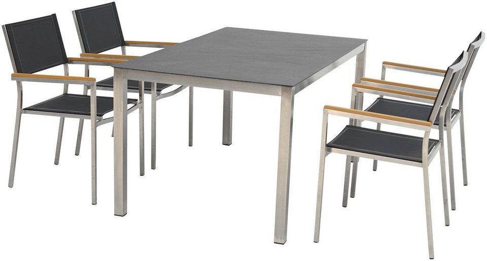 Ploss Gartenmobelset Soho 5 Tlg 4 Stuhle Tisch 150x90 Cm