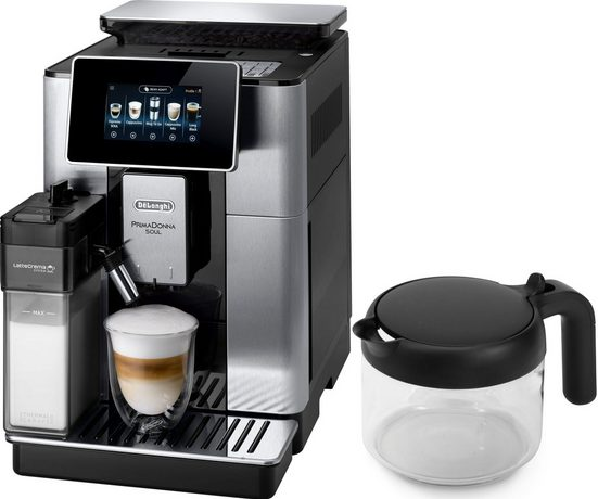 De'Longhi Kaffeevollautomat PrimaDonna Soul ECAM 610.75.MB mit Kaffeekannenfunktion, silber, inkl. Kaffeekanne im Wert von UVP € 29,99