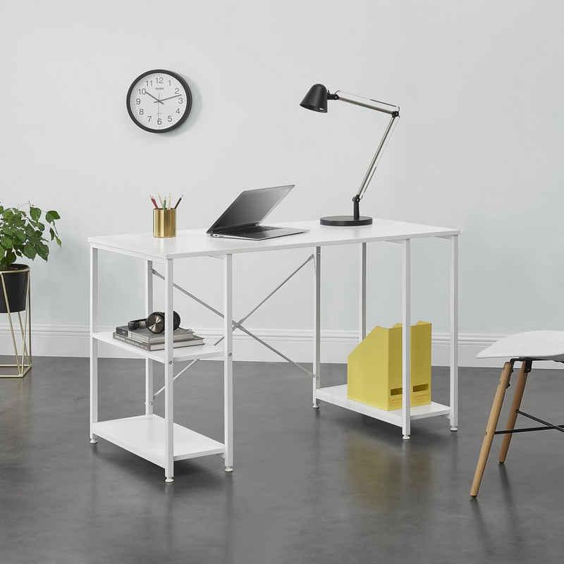 en.casa Regal-Schreibtisch, »Aarhus« Bürotisch PC Tisch mit Ablage 75x120x60cm - Weiß