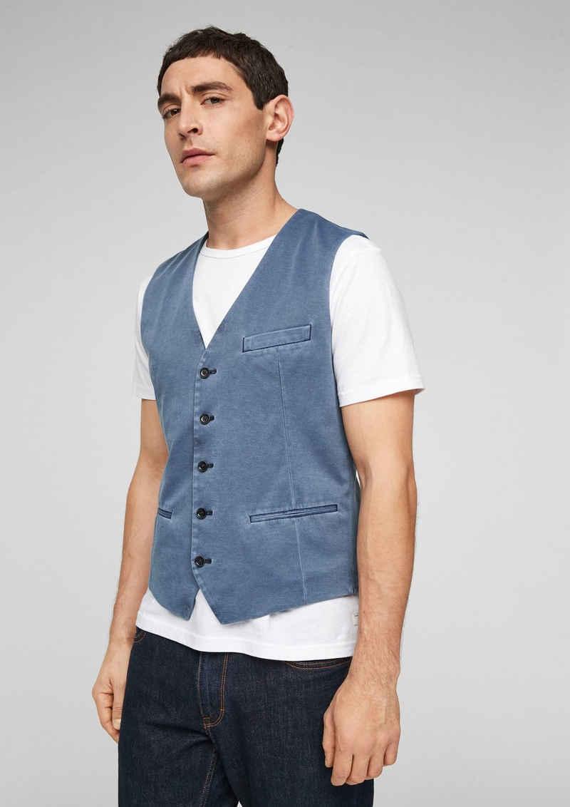 s.Oliver BLACK LABEL Anzugweste »Weste aus Jersey« Garment Dye, Riegel