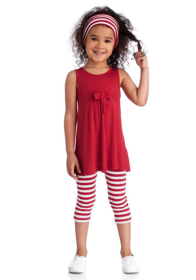 CFL Kleid, Leggings & Haarband (Set, 3 tlg.) in rot-weiß
