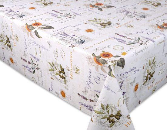 Beautex Tischdecke »Wachstuchtischdecke geprägt Provence abwischbar Garten Tischdecke RUND OVAL ECKIG, Größe wählbar« (1-tlg)