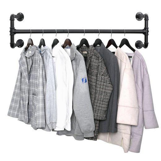 SONGMICS Garderobenstange »HSR64BK HSR64BK-02«, Kleiderstange für die Wand, Industrie-Design, schwarz