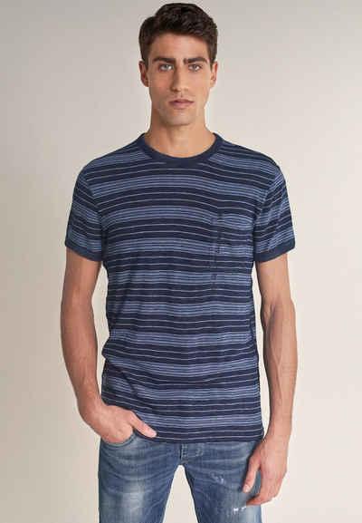 Salsa Kurzarmshirt »PALM BEACH« Slim T-Shirt Short Sleeve