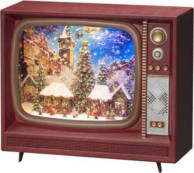 """KONSTSMIDE LED Laterne, LED Wasserlaterne, braun, Fernseher, """" Weihnachtsmarkt"""" mit Musik"""