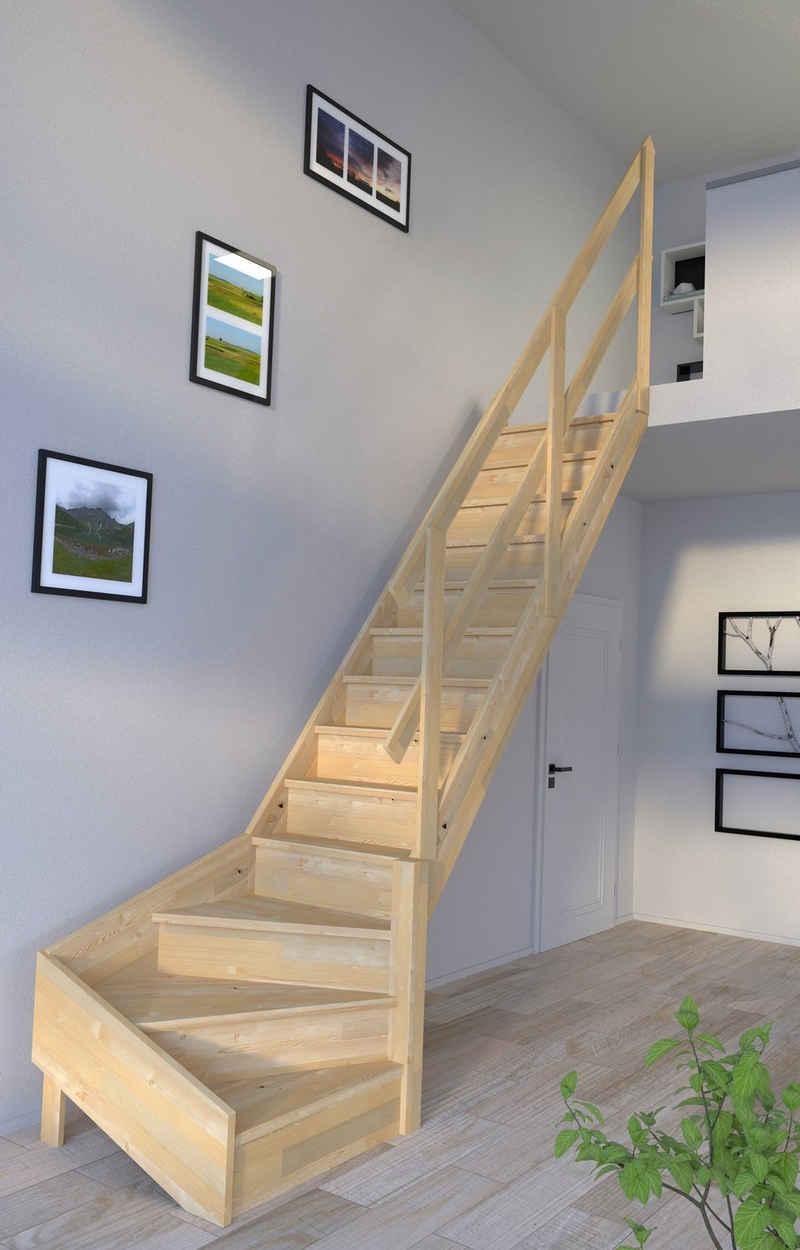 Starwood Raumspartreppe »Korfu, Holzgeländer«, für Geschosshöhen bis 300 cm, Stufen geschlossen, Durchgehende Wangenteile