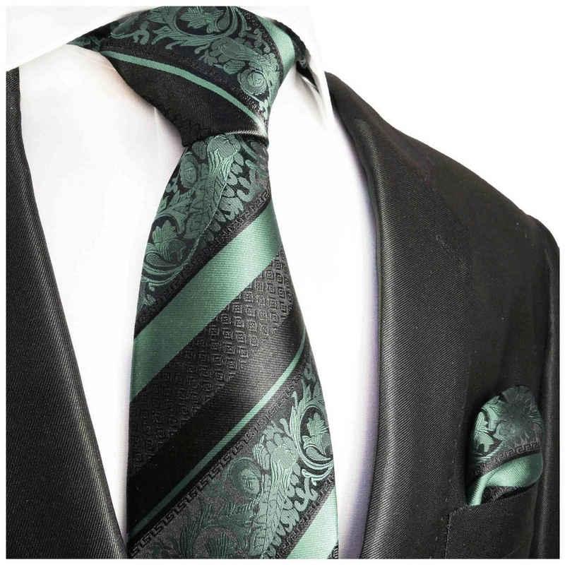Paul Malone Krawatte »Herren Seidenkrawatte Schlips mit Tuch modern barock gestreift 100% Seide« (Set, 2-St., Krawatte mit Einstecktuch) Breit (8cm), mintgrün schwarz 2034