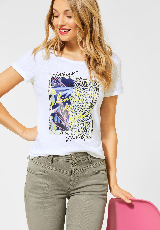 STREET ONE Rundhalsshirt mit Frontprint, Schriftzug und Strasssteine online kaufen | OTTO