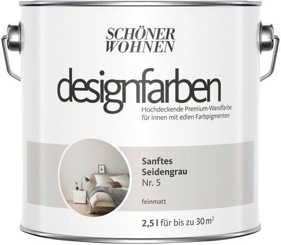 SCHÖNER WOHNEN-Kollektion Wandfarbe »Designfarben«, sanftes Seidengrau Nr. 5, feinmatt 2,5 l