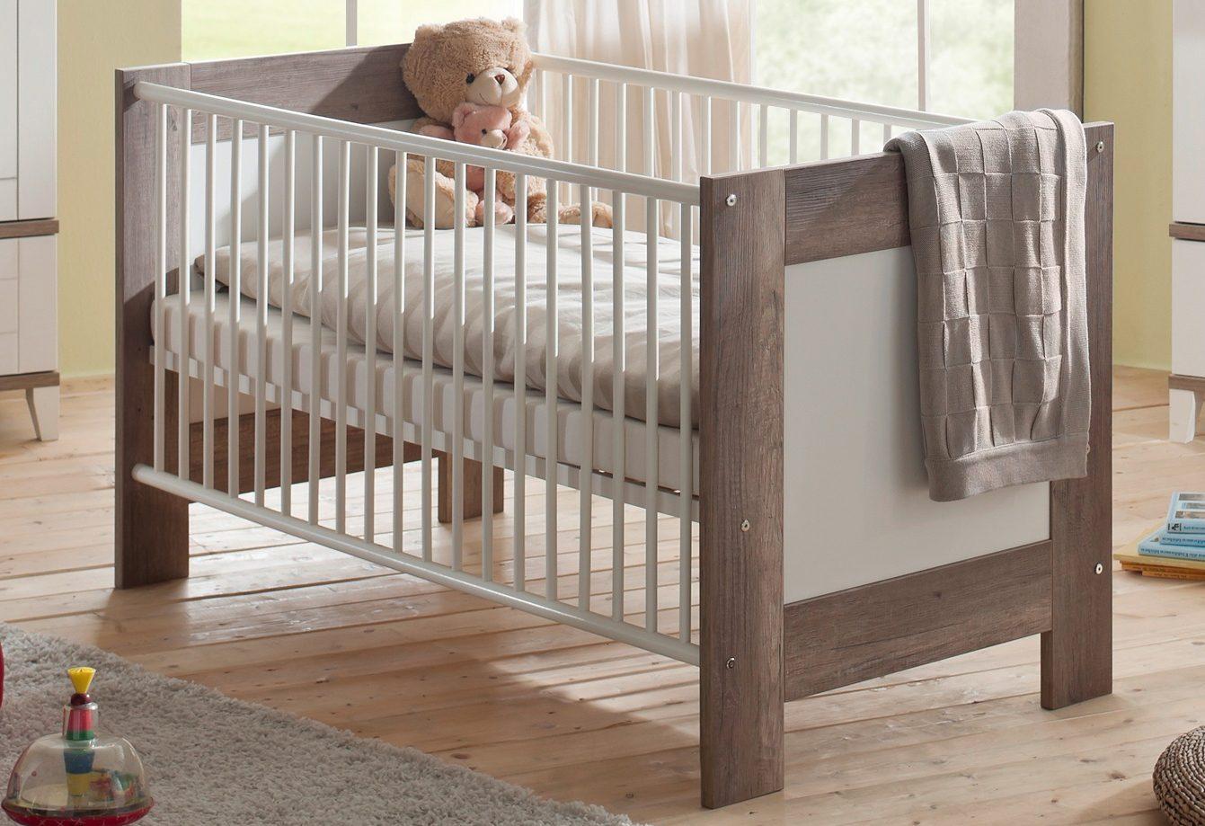 Babybett zur Babymöbelserie »Bella«, in wildeiche trüffel/ weiß matt