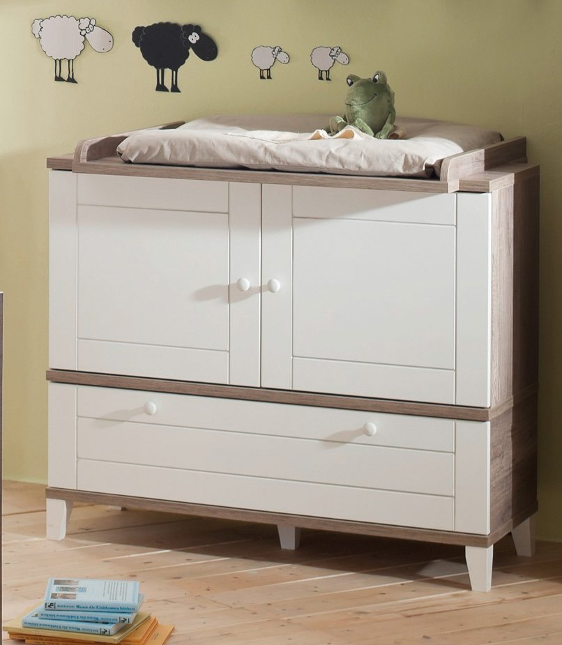wickelkommode zur babym belserie bella in wildeiche tr ffel wei matt online kaufen otto. Black Bedroom Furniture Sets. Home Design Ideas
