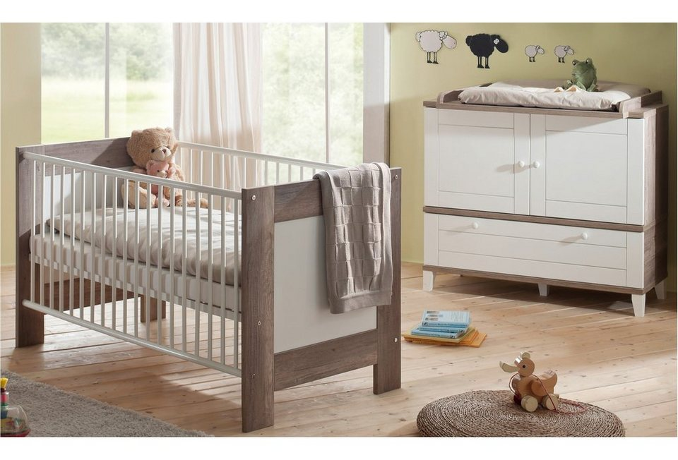babyzimmer spar set babybett und wickelkommode bella in wildeiche tr ffel wei matt online. Black Bedroom Furniture Sets. Home Design Ideas