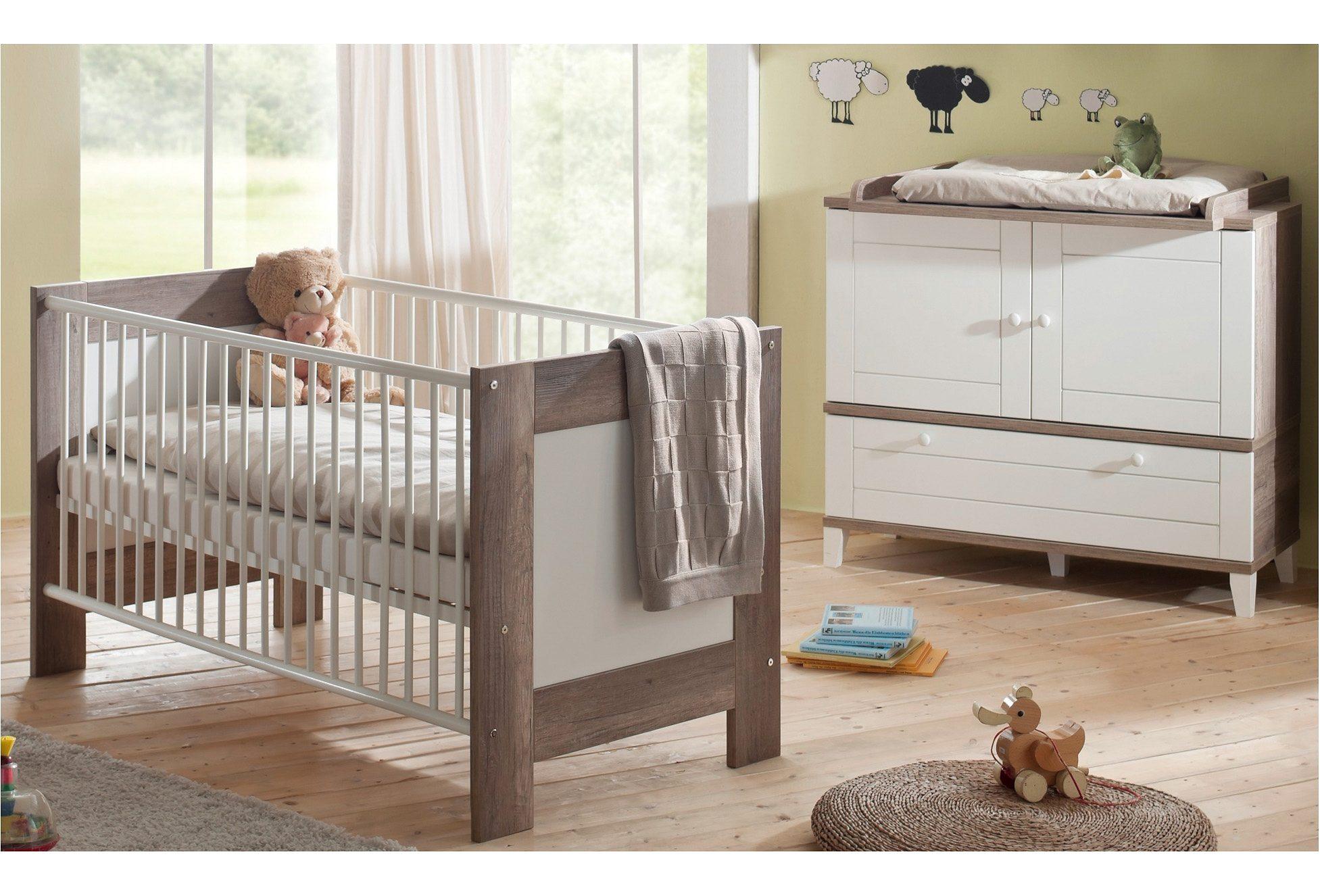 Babyzimmer Spar-Set: Babybett und Wickelkommode, »Bella«, in wildeiche trüffel/ weiß matt