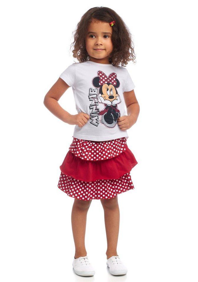 Disney Shirt & Rock mit Rüschen (Set, 2-tlg.), für Mädchen in Weiß-Rot