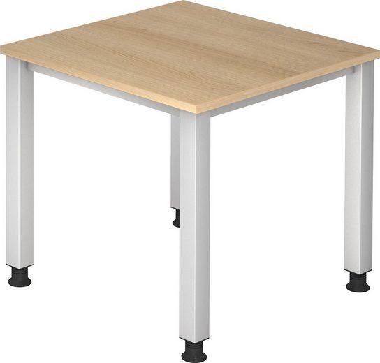 bümö Schreibtisch »OM2-QS08«, stufenlos höhenverstellbar - Quadrat: 80x80 cm - Dekor: Eiche, bümö® Premium Qualität