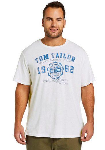 TOM TAILOR Men Plus T-Shirt mit auffälligem Logoprint