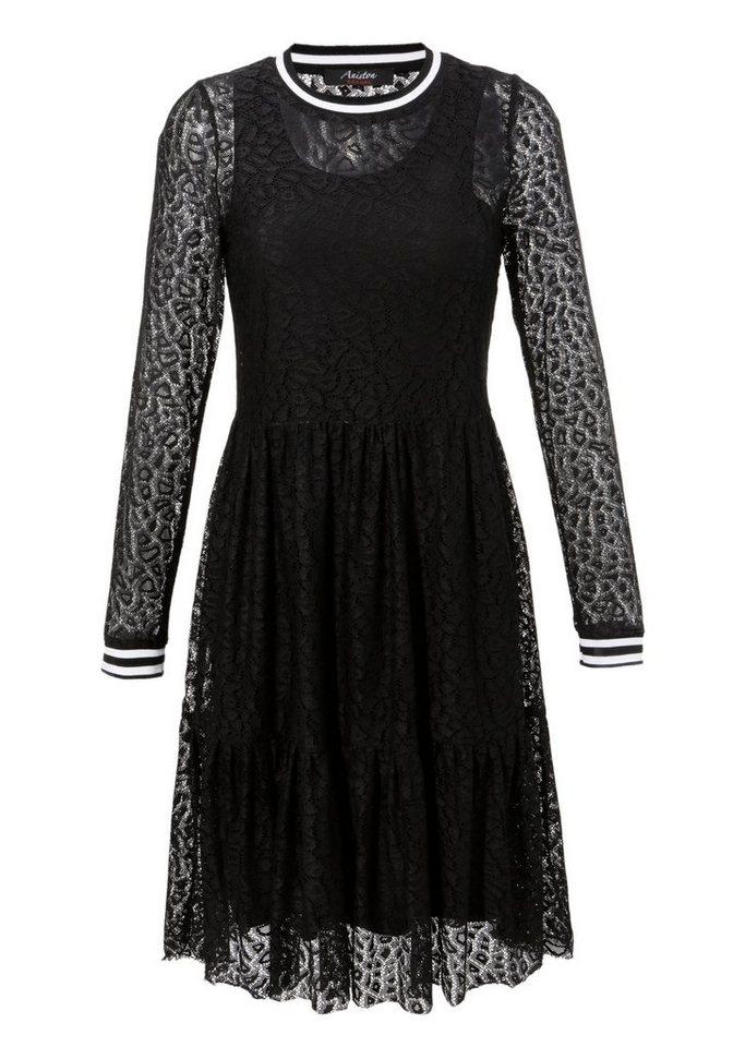 Festtagsmode - Aniston CASUAL Spitzenkleid mit gestreiften Bündchen An Rundhals Ausschnitt und den langen Ärmeln NEUE KOLLEKTION ›  - Onlineshop OTTO