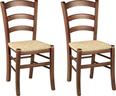 Home affaire 4-Fußstuhl »Super Paesana« (Set, 2 Stück), aus Massivholz Buche mit Sitz aus Grasgeflecht