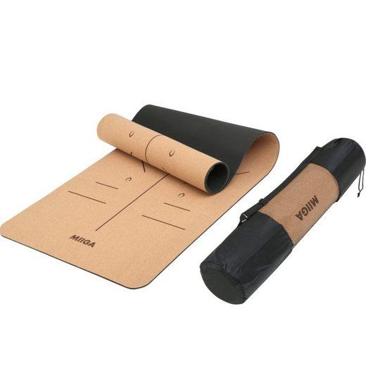 MIIGA Yogamatte, Anti-Rutsch Oberfläche, rutschfeste Matte aus Kork, 183x66x0,6cm Fitness Gymnastikmatte, Yoga-Trainingsband