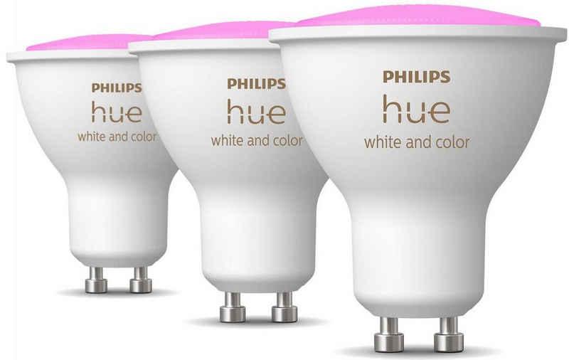 Philips Hue »Philips Hue White & Col. Amb. GU10 Dreierpack 3x230lm« LED-Leuchtmittel, GU10, 3 Stück, Warmweiß