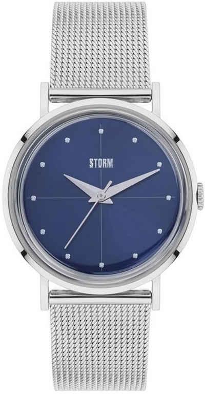 STORM Quarzuhr »UST47324/B0 Storm Damen Armbanduhr«, (Analoguhr), Damenuhr rund, mittel (ca. 34mm), Edelstahl, Edelstahlarmband, Fashion-Style