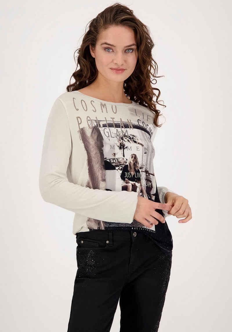 Monari Langarmshirt mit Fotodruck und Glitter und Strass