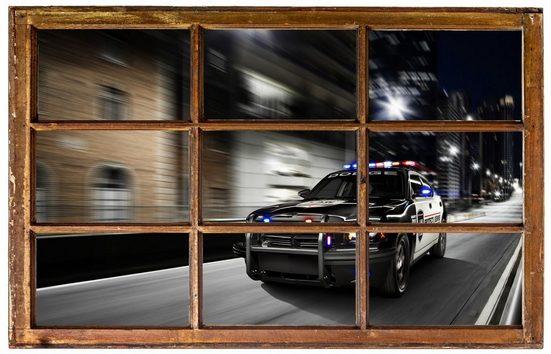 DesFoli Wandtattoo »Polizei Polizeiwagen Auto Gasse H0586«, in Holzfenster-Optik