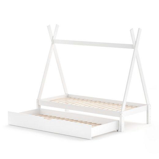 VitaliSpa® Kinderbett »Tipi Hausbett Weiß Bett Kinderhaus Zelt Bett Schublade 90x200cm inklusive Bettschublade«