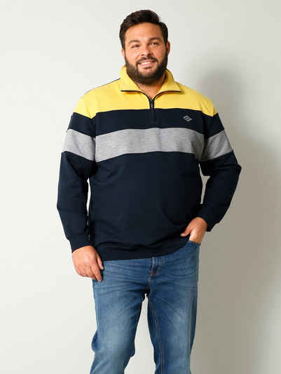 Men Plus Sweatshirt mit Troyerkragen