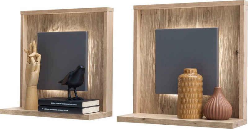 MCA furniture Wandboard »Lizzano«, 2-tlg., in Balkeneiche Nachbildung, 3-D Rückwand mit Struktur