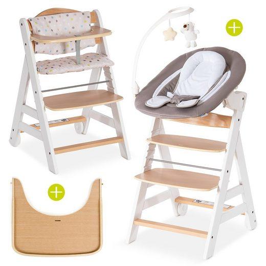 Hauck Hochstuhl »Beta Plus White Natur - Newborn Set Deluxe« Holz Babystuhl ab Geburt mit Liegefunktion - inkl. Aufsatz für Neugeborene, Sitzpolster, Tisch